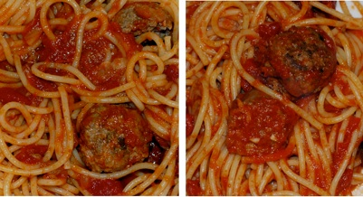 The Godfather sauce (left) has a slightly redder appearance and was markedly thicker than the Goodfellas sauce (right)
