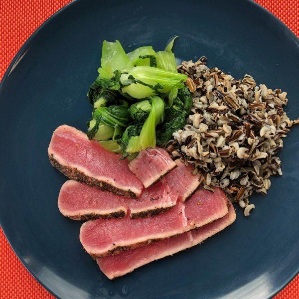 Seared ahi tuna - wild rice - and baby bok choy